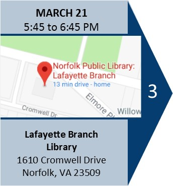 March 21 meeting 5:45 pm Lafayette Branch Library